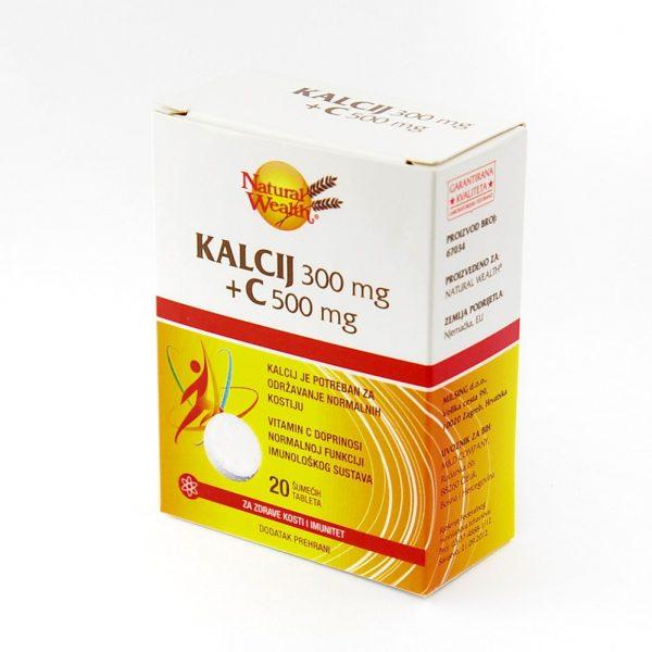 Natural Wealth® Kalcij 300 mg+C 500 mg